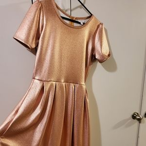Iridescent rose gold lularoe dress with pockets L